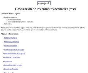 Test: clasificación de los números decimales