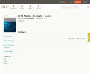 CK-12 Algebra I Concepts - Honor? Advanced