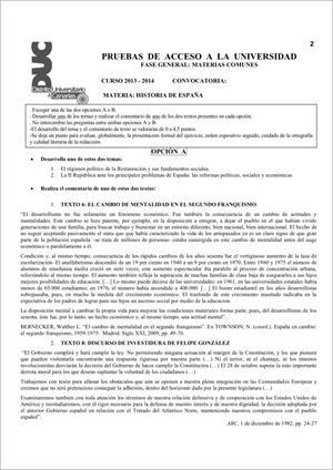 Examen de Selectividad: Historia de España. Comunidad Canaria. Convocatoria Junio 2014