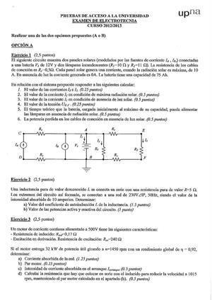 Examen de Selectividad: Electrotecnia. Navarra. Convocatoria Junio 2013