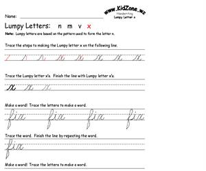Cursive Handwriting Worksheet for the Letter x (Educarchile)