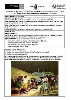 Examen de Selectividad: Técnicas de expresión grafo-plástica. Murcia. Convocatoria Junio 2014