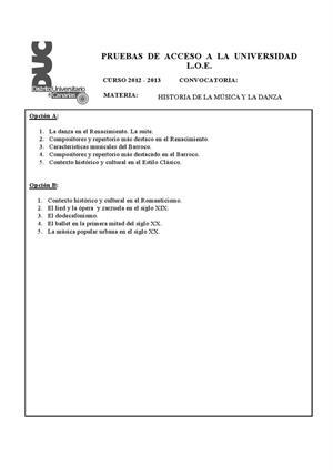 Examen de Selectividad: Historia de música y la danza. Canarias. Convocatoria Julio 2013
