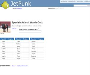 Spanish Animal Words Quiz