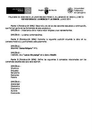 Examen de Selectividad: Historia de la música y la danza. Murcia. Convocatoria Junio 2014