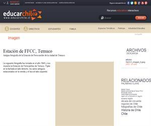 Estación de FFCC con gente y carros, Temuco (Educarchile)