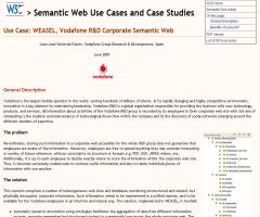 Use Case: WEASEL, Vodafone R&D Corporate Semantic Web
