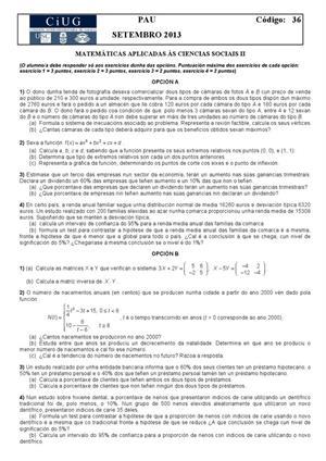 Examen de Selectividad: Matemáticas CCSS. Galicia. Convocatoria Septiembre 2013