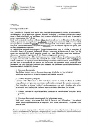 Examen de Selectividad: Italiano. Asturias. Convocatoria Junio 2013