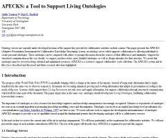 APECKS: a Tool to Support Living Ontologies (1998)