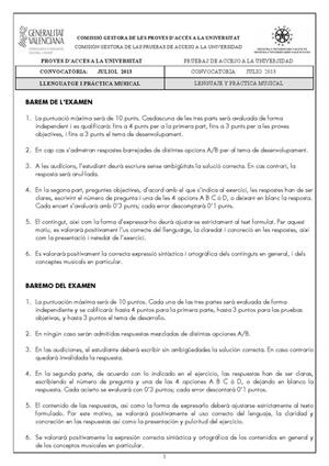 Examen de Selectividad: Lenguaje y práctica musical. Comunidad Valenciana. Convocatoria Julio 2013