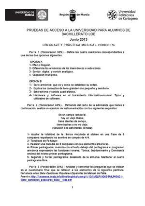 Examen de Selectividad: Lenguaje y práctica musical. Murcia. Convocatoria Junio 2013