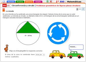 Problemas geométricos de figuras planas circulares. Matemáticas para 1º de Secundaria