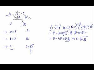 Resolución de un triángulo - Teorema del Coseno