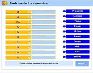 Repasa los símbolos de los elementos de la tabla periódica (educaplus.org)