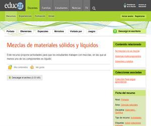 Mezclas de materiales sólidos y líquidos