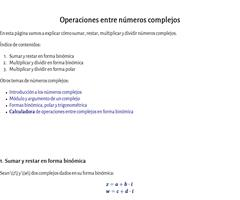 Operaciones entre números complejos