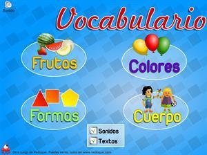 Frutas, el cuerpo humano, formas y colores. Vocabulario para Educación Infantil