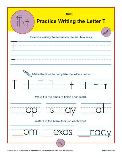 Practice Writing the Letter T