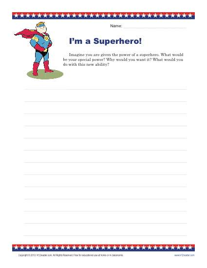 I'm a Superhero! Writing Prompt