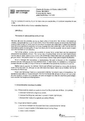Examen de Selectividad: Inglés. La Rioja. Convocatoria Junio 2014