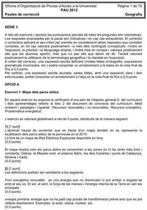 Examen de Selectividad (Soluciones): Geografía. Cataluña. Convocatoria Junio 2012