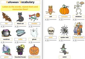 Halloween. Prepositions of places