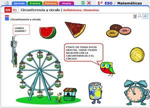 Definiciones y elementos de circunferencia y círculo. Matemáticas para 1º de Secundaria
