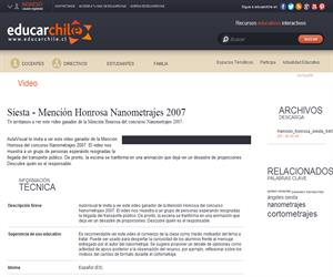 Siesta - Mención Honrosa Nanometrajes 2007 (Educarchile)
