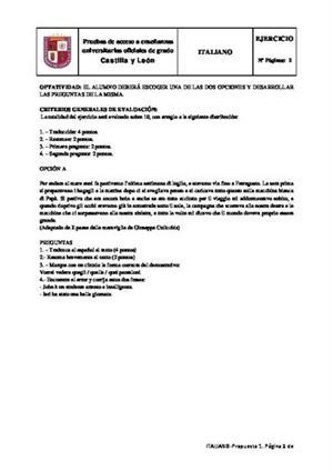 Examen de Selectividad: Italiano. Castilla y León. Convocatoria Junio 2014