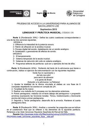 Examen de Selectividad: Lenguaje y práctica musical. Murcia. Convocatoria Septiembre 2013