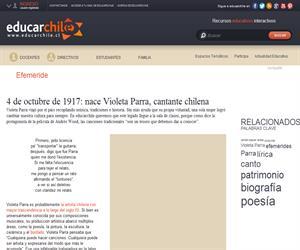 5 de febrero de 1967: Muere Violeta Parra, cantante chilena (Educarchile)