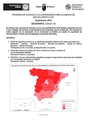 Examen de Selectividad: Geografía. Murcia. Convocatoria Septiembre 2013