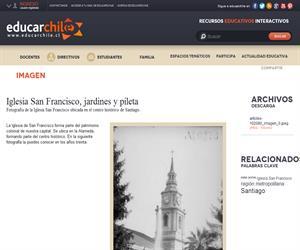 Iglesia San Francisco, jardines y pileta (Educarchile)