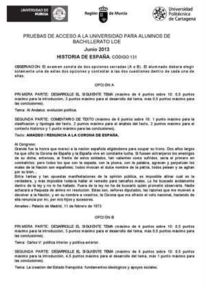 Examen de Selectividad: Historia de España. Murcia. Convocatoria Junio 2013