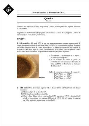 Examen de Selectividad: Química. Islas Baleares. Convocatoria Junio 2014