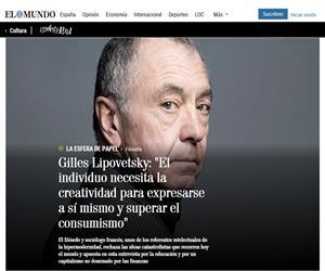 """Gilles Lipovetsky: """"El individuo necesita la creatividad para expresarse a sí mismo y superar el consumismo"""""""