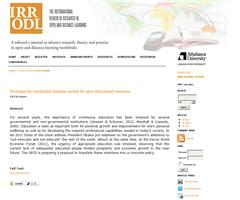 Strategies for sustainable business models for open educational resources | IRR ODL