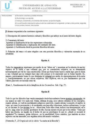 Examen de Selectividad: Historia de la Filosofía 4. Andalucía. Convocatoria Junio 2012