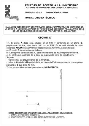 Examen de Selectividad: Dibujo técnico. Comunidad Canaria. Convocatoria Junio 2014