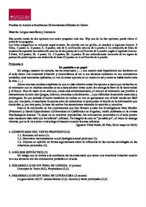 Examen de Selectividad: Lengua castellana y su literatura. Castilla-La Mancha. Convocatoria Junio 2014