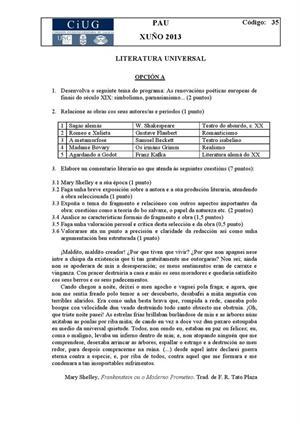 Examen de Selectividad: Literatura universal. Galicia. Convocatoria Junio 2013