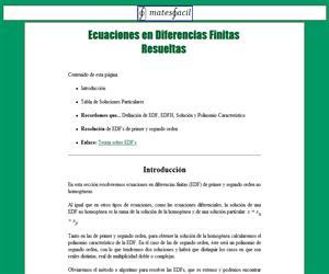 Ecuaciones en diferencias finitas (EDF)