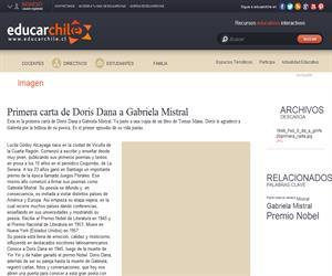 Primera carta de Doris Dana a Gabriela Mistral (Educarchile)
