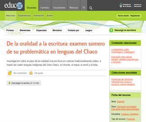 De la oralidad a la escritura: examen somero de su problemática en lenguas del Chaco