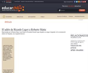 El adiós de Ricardo Lagos a Roberto Matta (Educarchile)