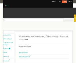 Ethical, Legal, and Social Issues of Biotechnology - Advance? Advanced