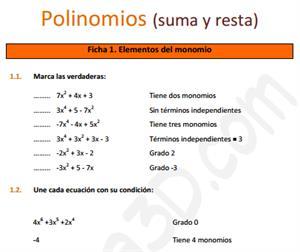 Suma y resta de polinomios - Ficha de ejercicios