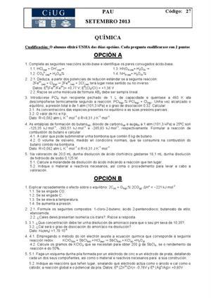 Examen de Selectividad: Química. Galicia. Convocatoria Septiembre 2013