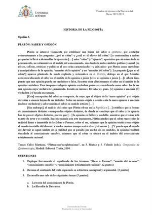 Examen de Selectividad: Historia de la filosofía. Asturias. Convocatoria Junio 2013